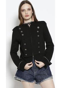 Jaqueta Em Moletinho Com Bordados & Botões - Preta & Pracanal