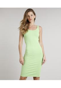 Vestido Feminino Midi Canelado Com Fenda Alça Larga Verde Neon