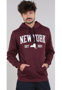 """Blusão Masculino """"New York"""" Em Moletom Com Capuz E Bolso Vinho"""