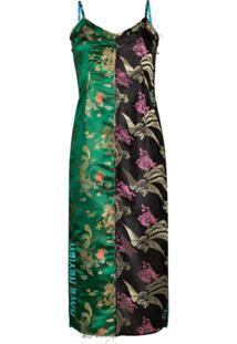 Rave Review Slip Dress Midi Mira Asian Jacquard - Verde