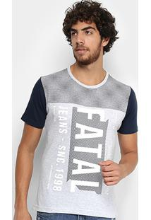 Camiseta Fatal Recortes Manga Contrastante Masculina - Masculino-Gelo