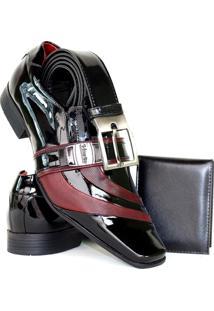 Sapato Social Masculino Venetto Verniz - Masculino-Preto+Vermelho