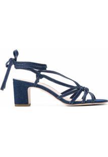 Loeffler Randall Sandália Jeans Libby Knotted Wrap - Azul