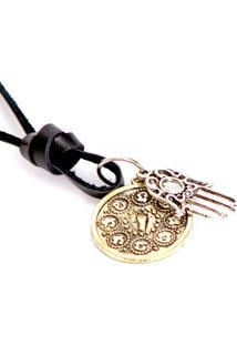 Colar Lovelee Acessórios De Hansá E Medalha Envelhecida Preto