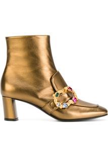 Casadei Ankle Boot Com Cristais - Amarelo E Laranja