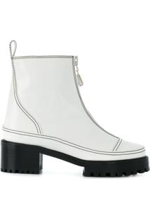 Nicole Saldaña Ankle Boot De Couro Com Zíper - Branco