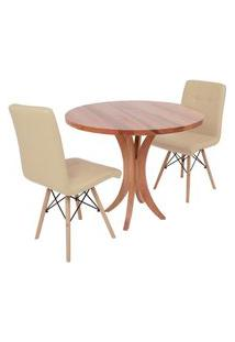 Conjunto Mesa De Jantar Tampo De Madeira 90Cm Com 2 Cadeiras Gomos - Nude