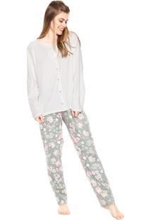 Pijama Pzama Botões Branco/Verde