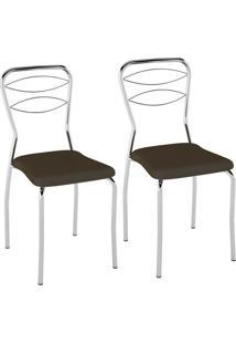 Kit C/ 2 Cadeiras Assento Cacau Pozza