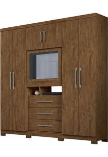 Guarda-Roupa Casal Com Espelho Dubai Plus 6 Pt 3 Gv Castanho Wood