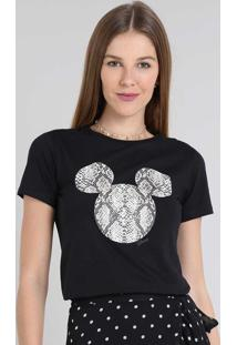 Blusa Feminina Mickey Animal Print Manga Curta Decote Redondo Preta