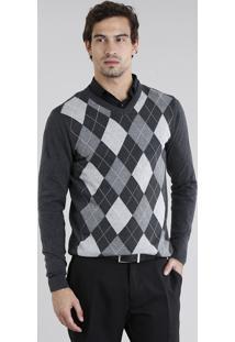 Suéter Masculino Em Tricô Estampado Xadrez Argyle Gola V Cinza Mescla Escuro