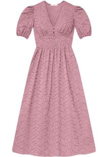 Vestido Laise Flores Midi Rosa Persefone - Lez A Lez