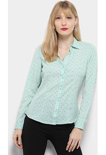 Camisa Manga Longa Aishty Mini Print Feminina - Feminino-Verde Claro