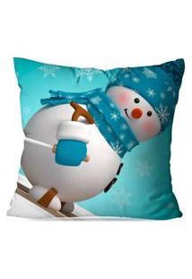 Capa De Almofada Love Decor Avulsa Decorativa Happy Snowman