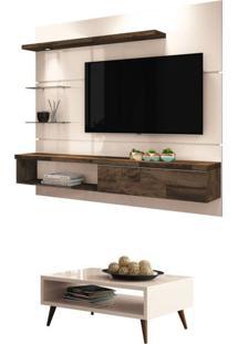 Painel Tv Ores Com Mesa De Centro Lucy Off White/Deck - Hb Móveis
