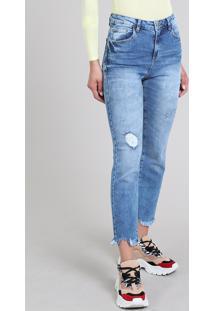 Calça Jeans Feminina Sawary Reta Cropped Azul Médio