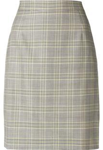 Escada Formal Plaid Skirt - Cinza