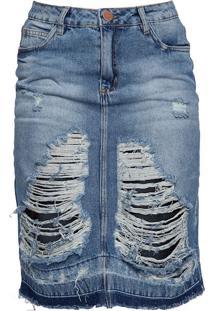 Saia Curta Jeans Destroyed Canellado