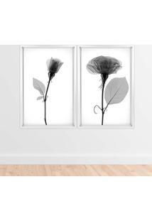 Quadro Com Moldura Chanfrada Sombra Flores Branco - Grande - Multicolorido - Dafiti