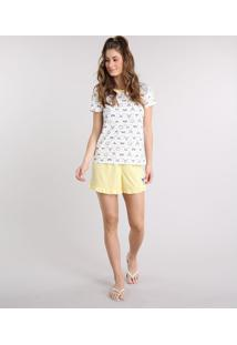 Pijama Feminino Estampado De Bichos Manga Curta Off White