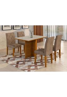 Conjunto De Mesa De Jantar Com 4 Cadeiras Ane I Suede Animalle Imbuia E Chocolate