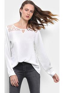 573ea14245 ... Blusa For Why Bata Manga Longa Feminina - Feminino-Off White
