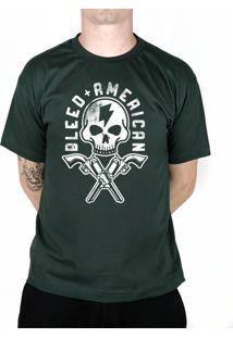 Camiseta Bleed American Skull Walker Musgo