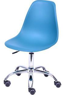 Cadeira Eames Dkr Rodizio- Azul Petrã³Leo & Prateada-Or Design
