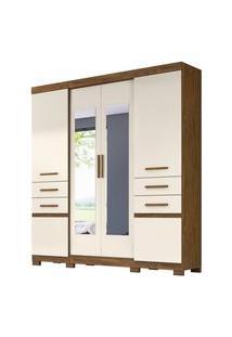 Guarda Roupa Casal 6 Portas E Espelho Aracaju Castanho Wood/Baunilha - Moval