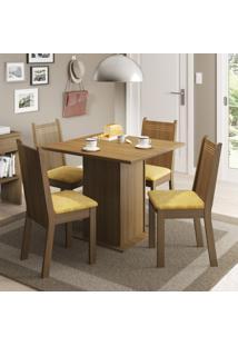 Conjunto De Mesa Com 4 Cadeiras Kate Rustic E Palha