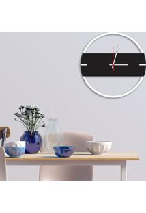 Relógio De Parede Decorativo Premium Slim Branco Com Detalhe Preto Ônix Em Relevo Médio