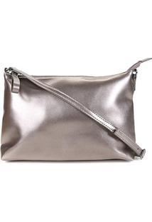 Bolsa Shoestock Metalizada Transversal Feminina - Feminino-Prata