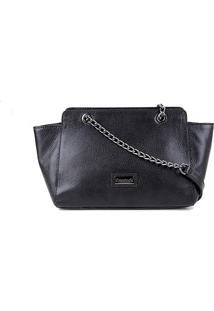 Bolsa Couro Shoestock Shoulder Bag Correntes Feminina - Feminino-Preto