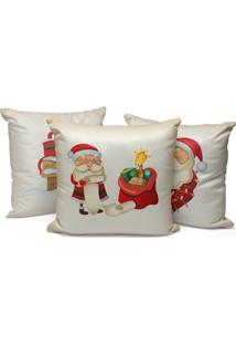 Kit 3 Capas Para Almofadas Love Decor Decorativas Cute Papai Noel