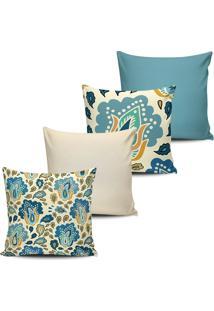 Kit 4 Capas Almofada Estampa Floral Azul E Marfim 45X45Cm - Tricae