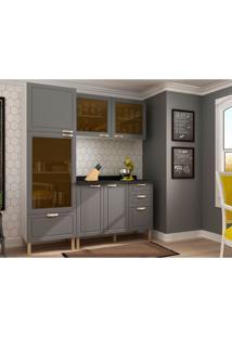 Cozinha Compacta Nevada Vi 6 Pt 4 Gv Grafite E Branca
