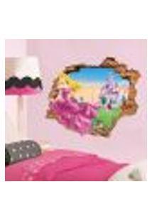 Adesivo De Parede Buraco Falso 3D Princesa Aurora 07 - G 82X100Cm