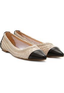 Sapatilha Shoestock Bico Fino Bordado Feminina - Feminino-Preto+Bege