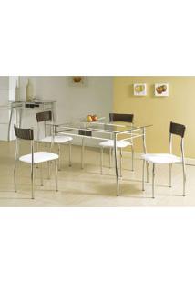 Conjunto De Mesa Com 4 Cadeiras Lua Prata E Branco E Marrom - Única