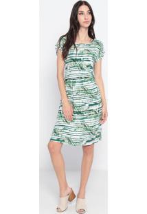 Vestido Com Amarração- Verde & Branco- Maria Padilhamaria Padilha