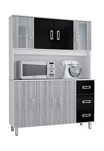 Armário De Cozinha Poliman Móveis Kit Ravena 7 Portas E 3 Gavetas Branco/Cinza Np/Preto