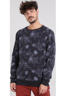 Blusão Masculino Estampado Floral Em Moletom Gola Careca Preto