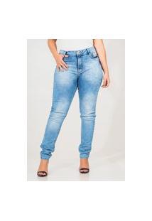 Calça Jeans Feminina Skinny Manchada Com Detalhe No Bolso