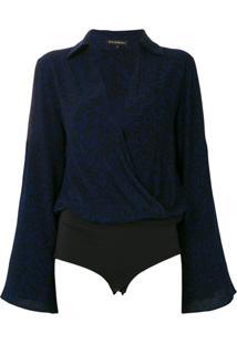 Le Lis Blanc Body Yves Decote Transpassado Estampado - Azul