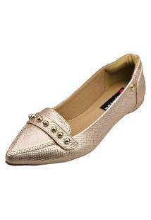 Mocassim Bico Fino Love Shoes Sapatilha Abs Metalizado Bronze