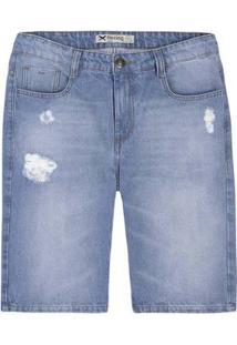 Bermuda Jeans Masculina Slim Com Detalhes Destroyed