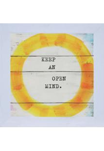 "Quadro Decorativo ""Open Mind"" - Branco & Amarelo - 1Kapos"