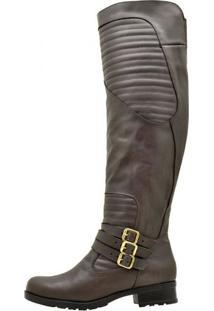 Bota Atron Shoes Montaria Couro Cano Alto Salto Baixo Conforto Marrom