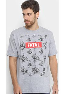 Camiseta Fatal Flores Masculina - Masculino-Cinza Claro